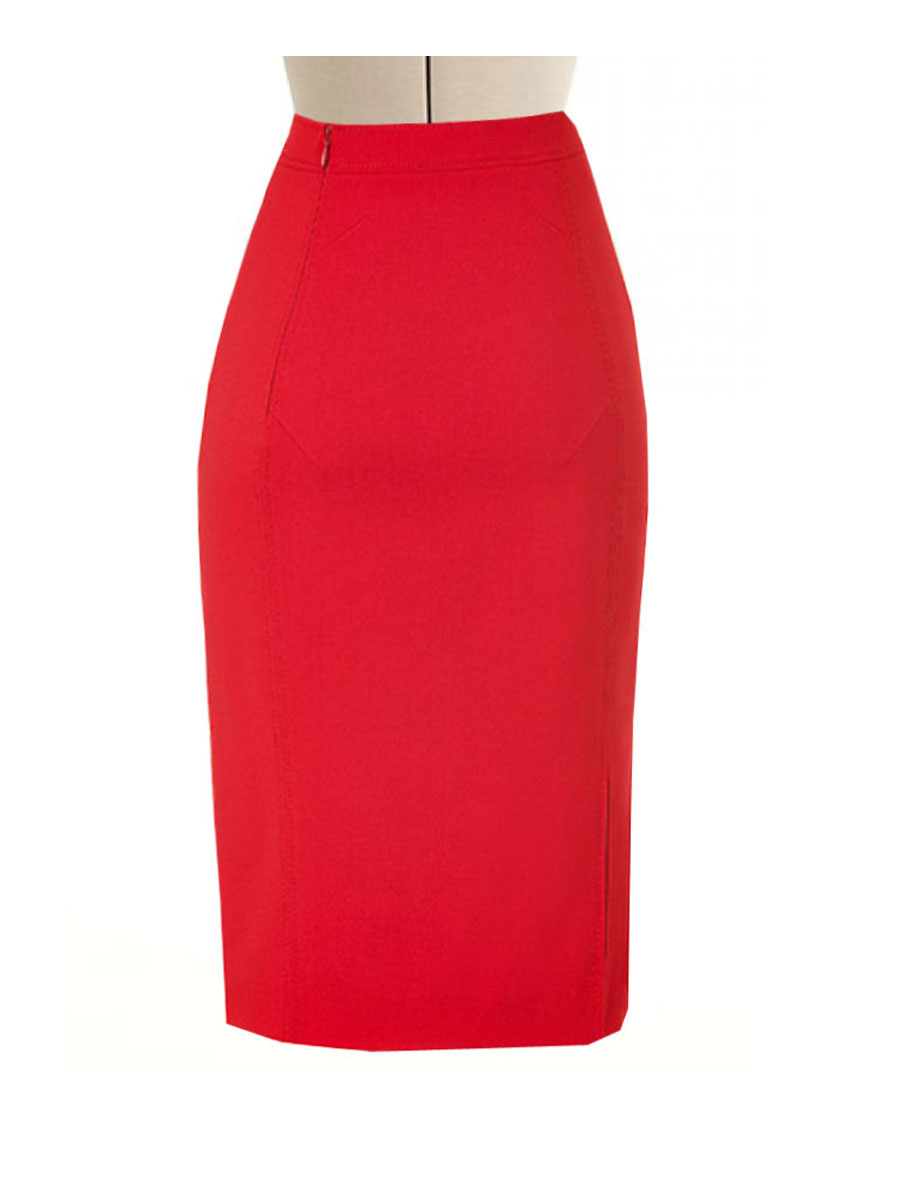 Red Pencil Skirt With Side Split Custom Fit Handmade
