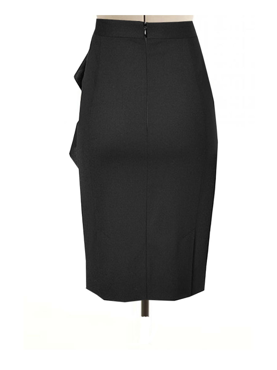 Black Pencil Skirt With Side Flair Custom Hand Made To