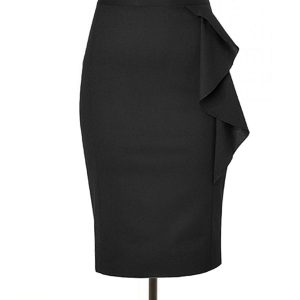 b464a28f5a Black Pencil Skirt with Side Flair, Custom Hand Made to Fit, Fully Lined