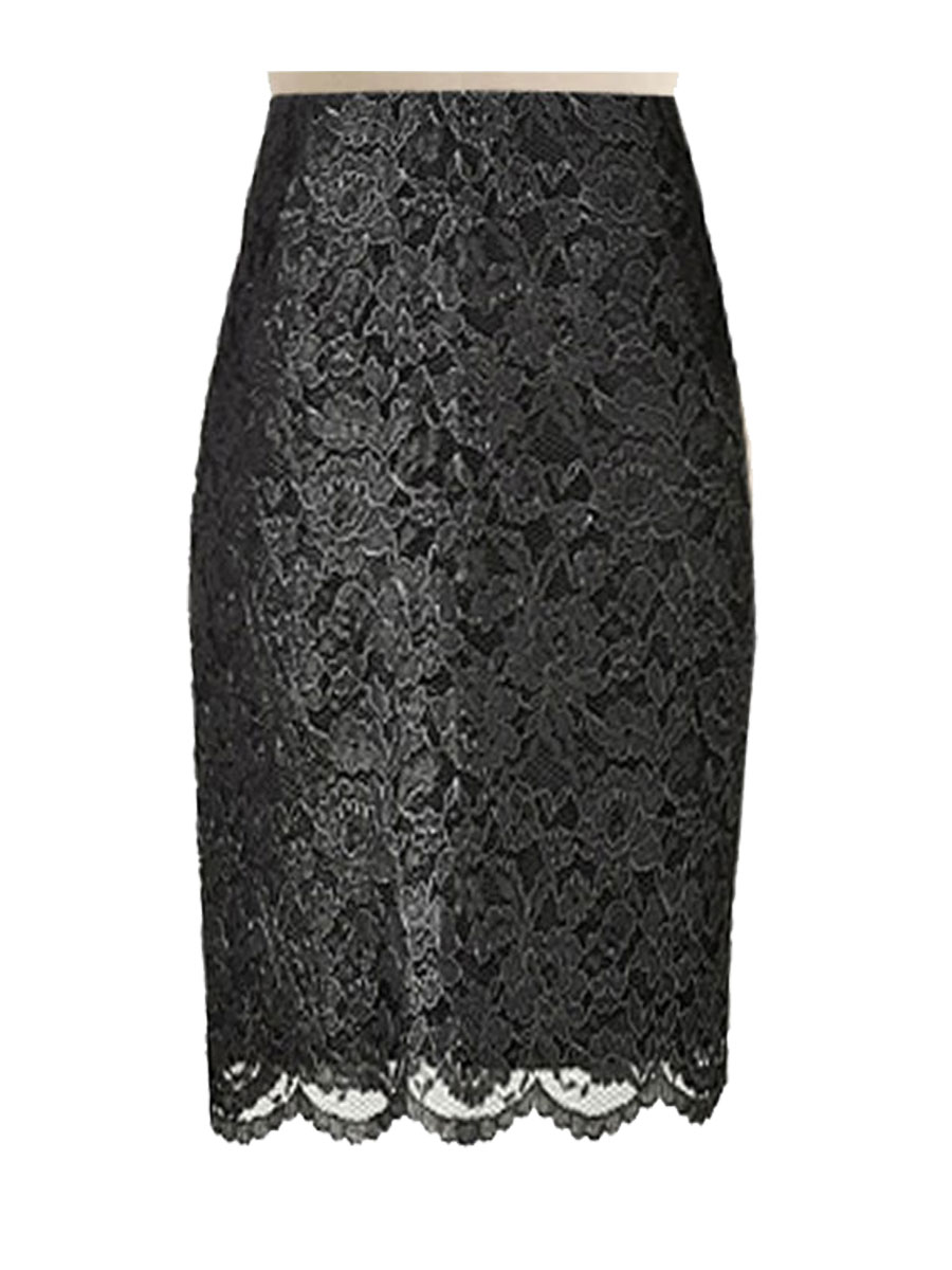 Black Lace Pencil Skirt Custom Handmade Fully Lined