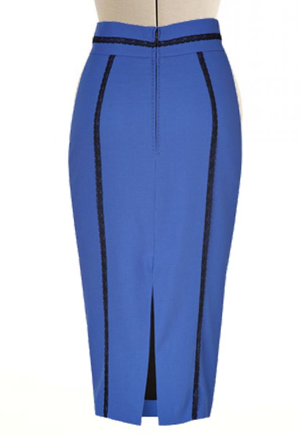 ff9e6fc9e83 High Waisted Pencil Skirt with Lace Trim