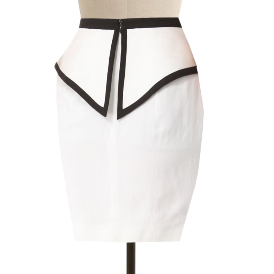 White Linen Skirt With Flared Peplum Detail Custom Fit