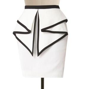322fdb3cd2 Plus Size White Linen Skirt with Flared Peplum detail, Custom Fit, Handmade