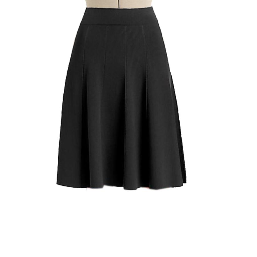 Black Flared Panelled Skirt, Custom Fit, Handmade, Fully ...