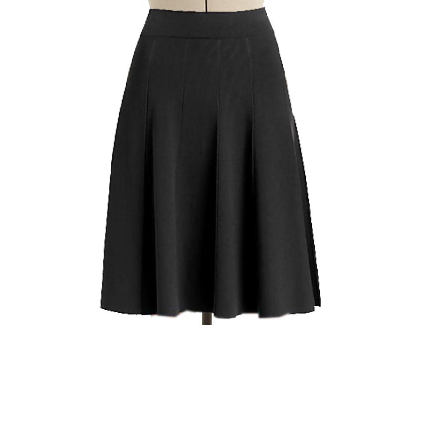 Black Flared Panelled Skirt Custom Fit Handmade Fully