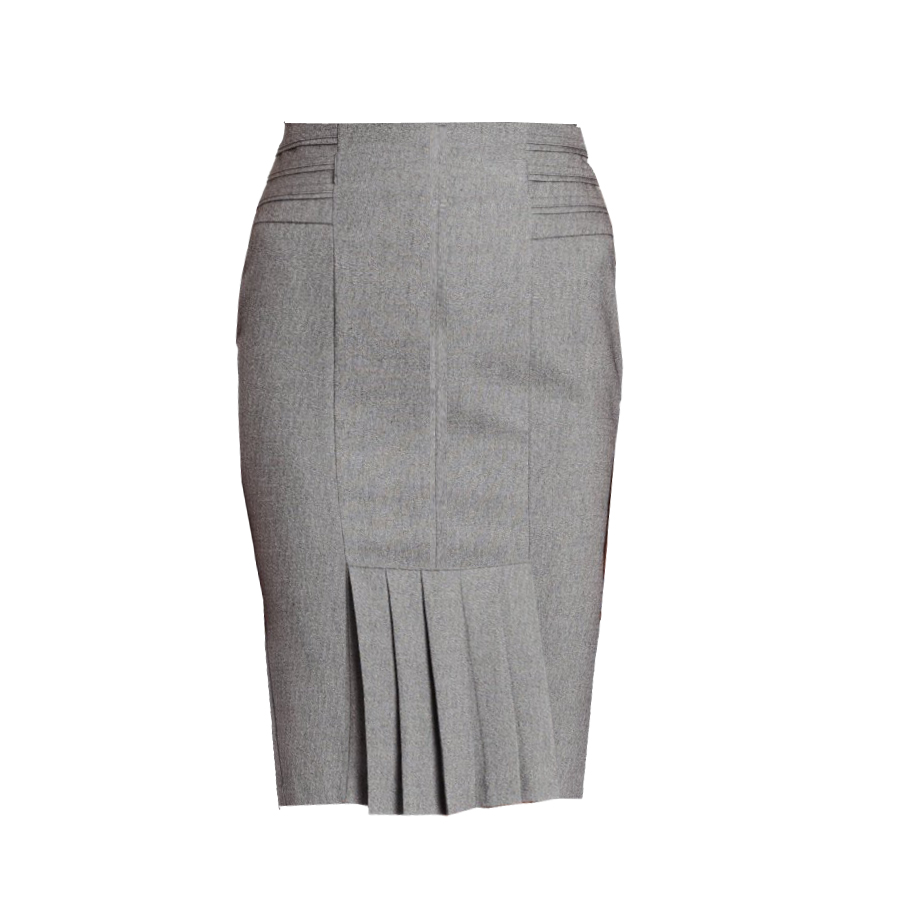 Grey Pencil Skirt with Back Knife Pleats and Side Tucks f97fb91d0de