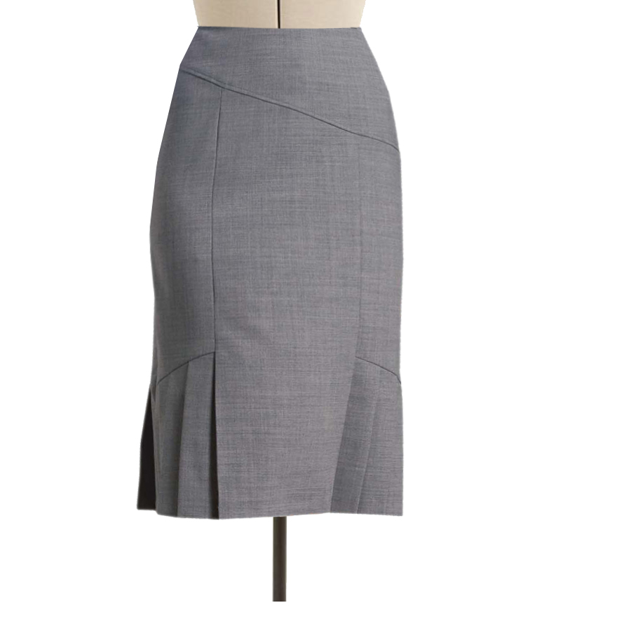 ee61982c370a Grey Pencil Skirt with side Knife Pleats and panel cuts, Custom Fit,  Handmade, Fully Lined, Wool Blend Fabric
