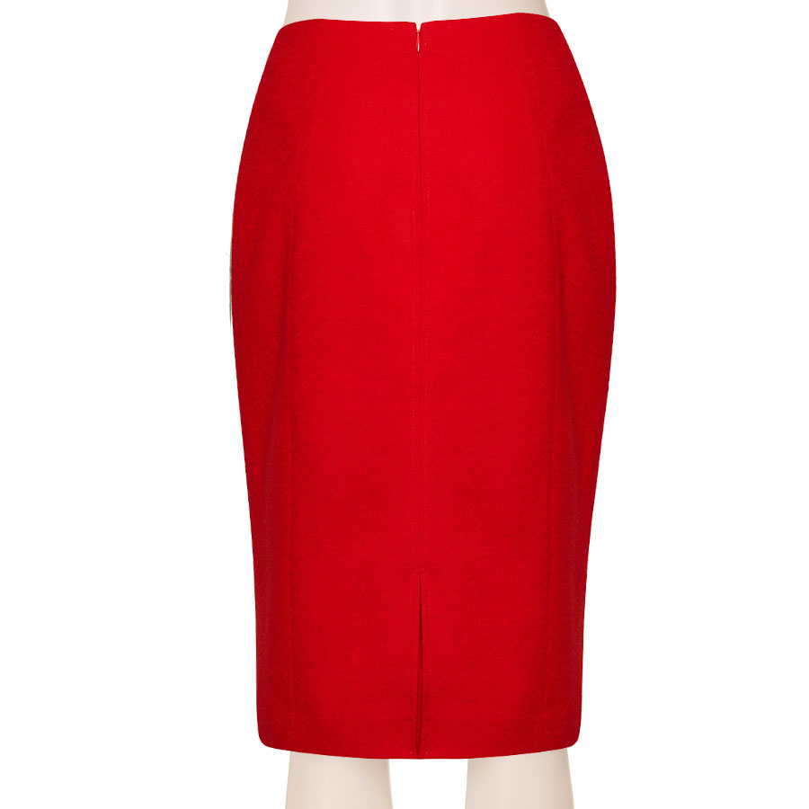 20d313ebc05f Tailored Linen Blend Red Pencil Skirt With Front Piping, Custom Fit,  Handmade, Fully Lined, Wool BLend