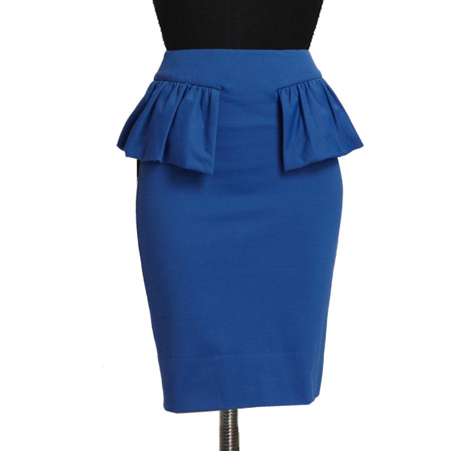 19fdd208a6 Blue Peplum Pencil Skirt, Custom Fit, Handmade, Fully Lined, Stretch Fabric