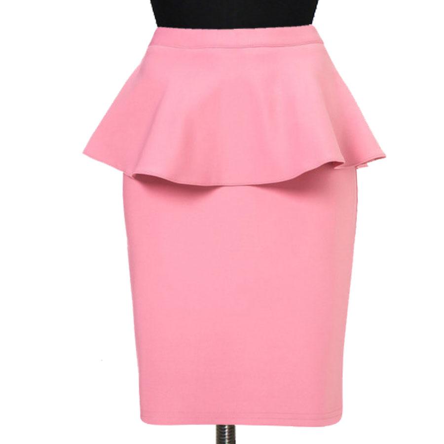 b9011700d Guava Peplum Pencil Skirt, Custom Fit, Handmade, Fully Lined, Linen Fabric