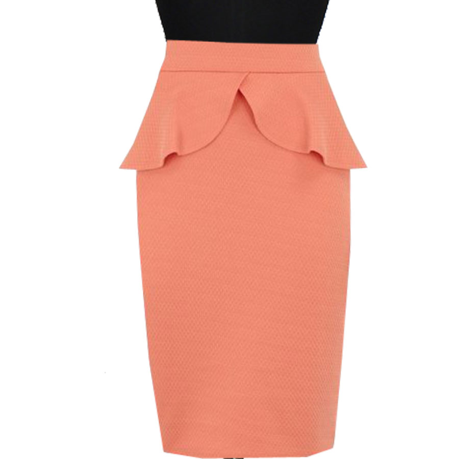 6fc91df1b Peach Peplum Pencil Skirt, Custom Fit, Handmade, Fully Lined, Linen Fabric