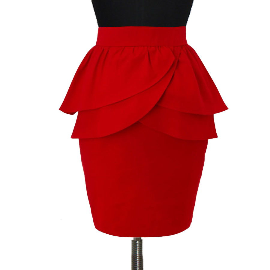 Red Double Layer Peplum Pencil Skirt with Jacket u2013 Elizabethu0026#39;s Custom Skirts