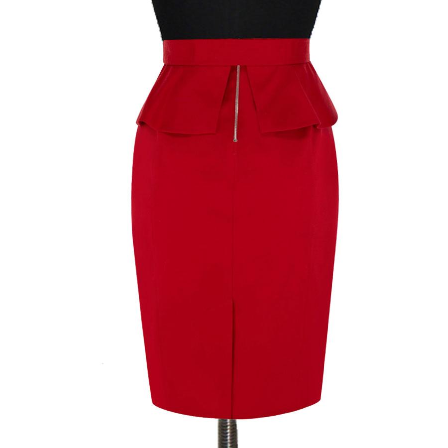 3fa77b1e756 Red Pleated Peplum Pencil Skirt