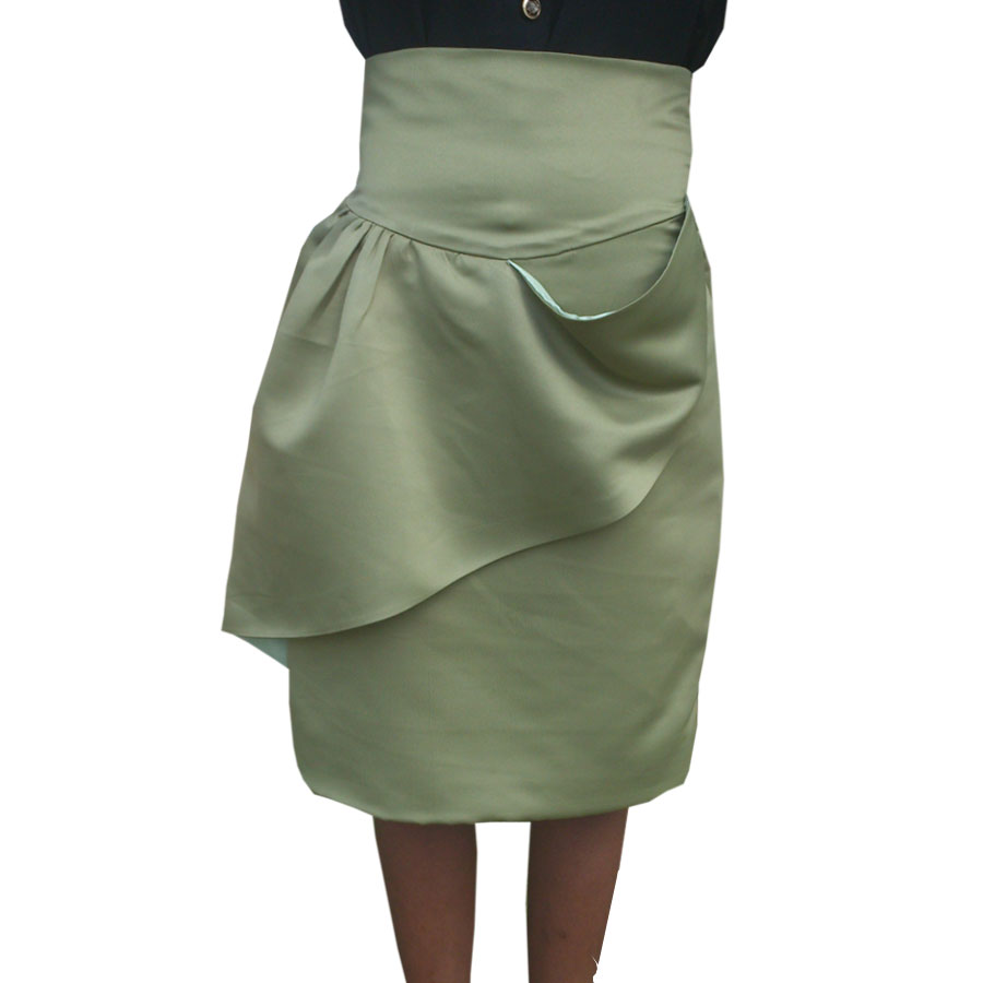 Olive green True High Waisted Pencil Skirt with front ...