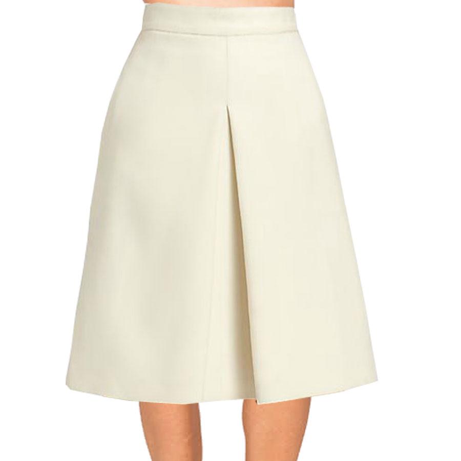 Cream Inverted Pleat A-Line Skirt u2013 Elizabethu0026#39;s Custom Skirts