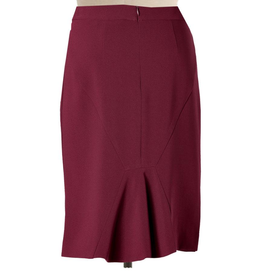 Wine Red Pencil Skirt with Back Ruffled kick pleat – Elizabeth s ... 7c066e9d92b