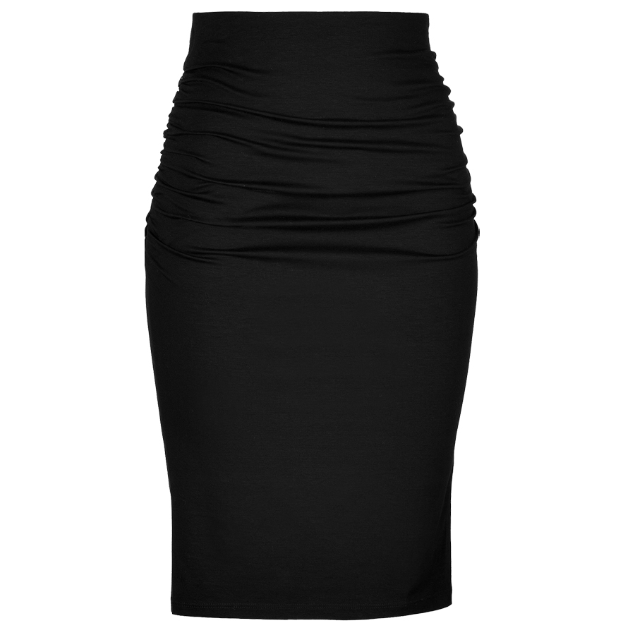 Plus Size Black Knit Cotton High Waisted Ruched Pencil