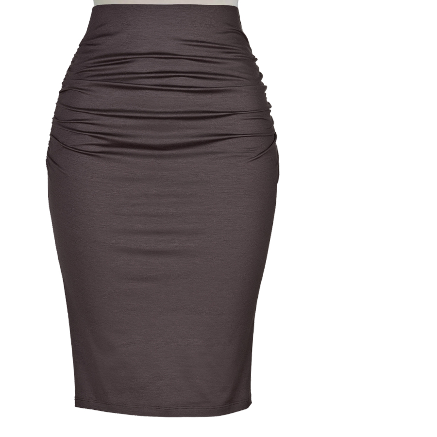 Plus Size Knit Cotton High-Waisted Ruched Pencil Skirt