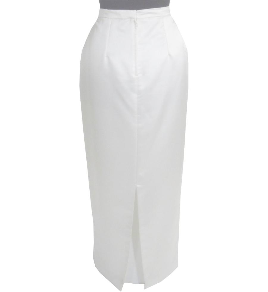 Straight Cut White Bridal Satin Maxi Skirt Elizabeth S