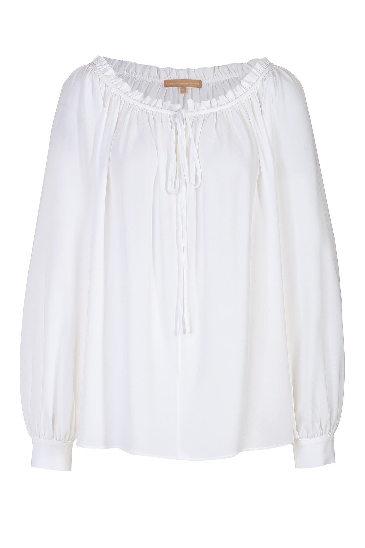 White Cotton Peasant Blouse