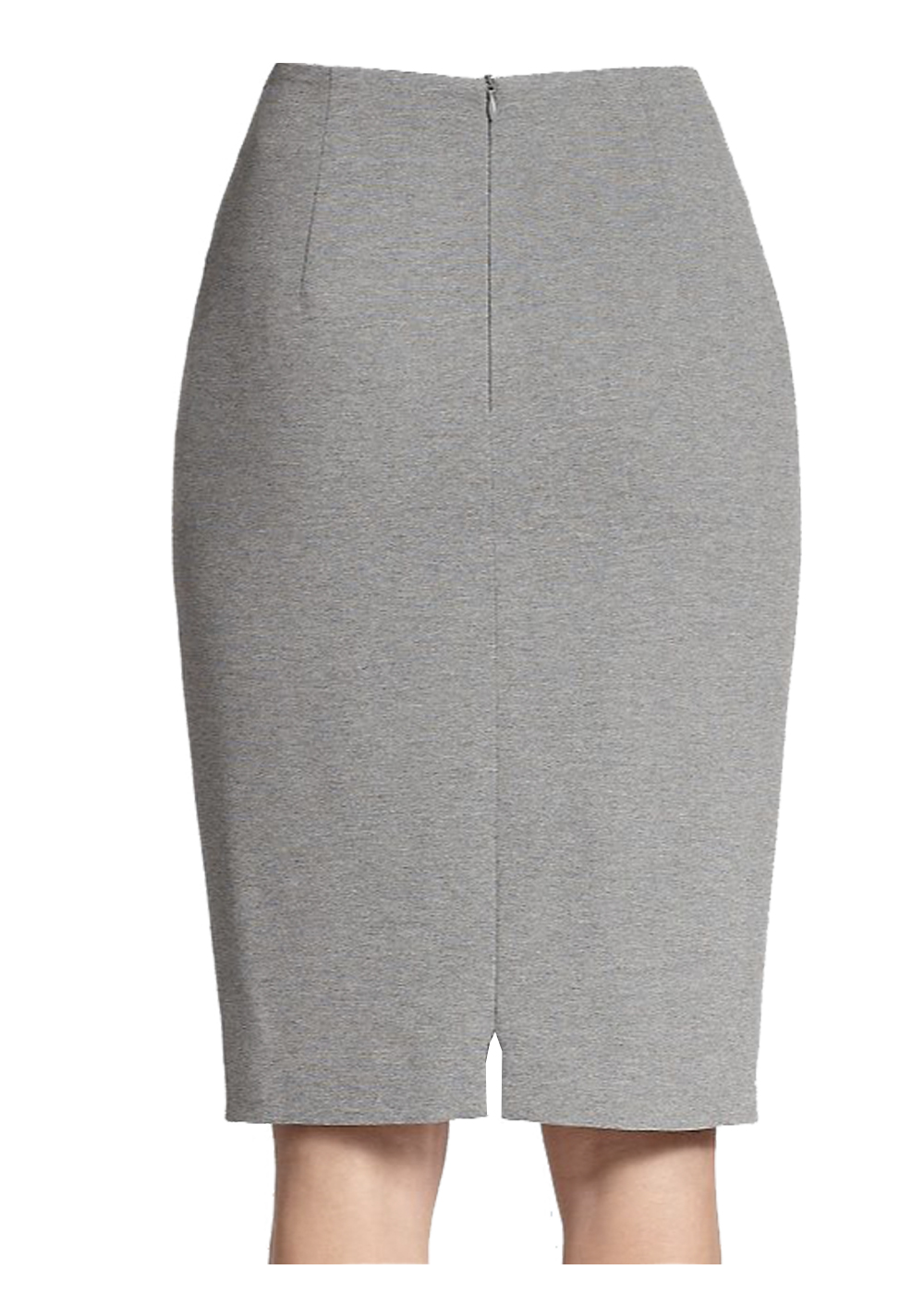 Classic Gray Polyester Wrinkle Free Pencil Skirt
