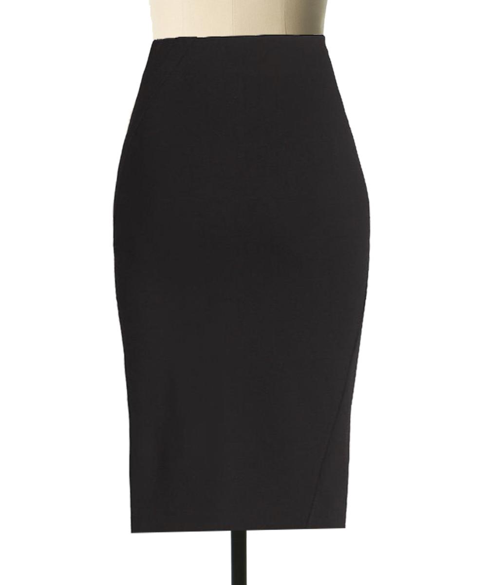 897d526e96 Plus Size Fully line black Linen pencil skirt with diagonal cut ...