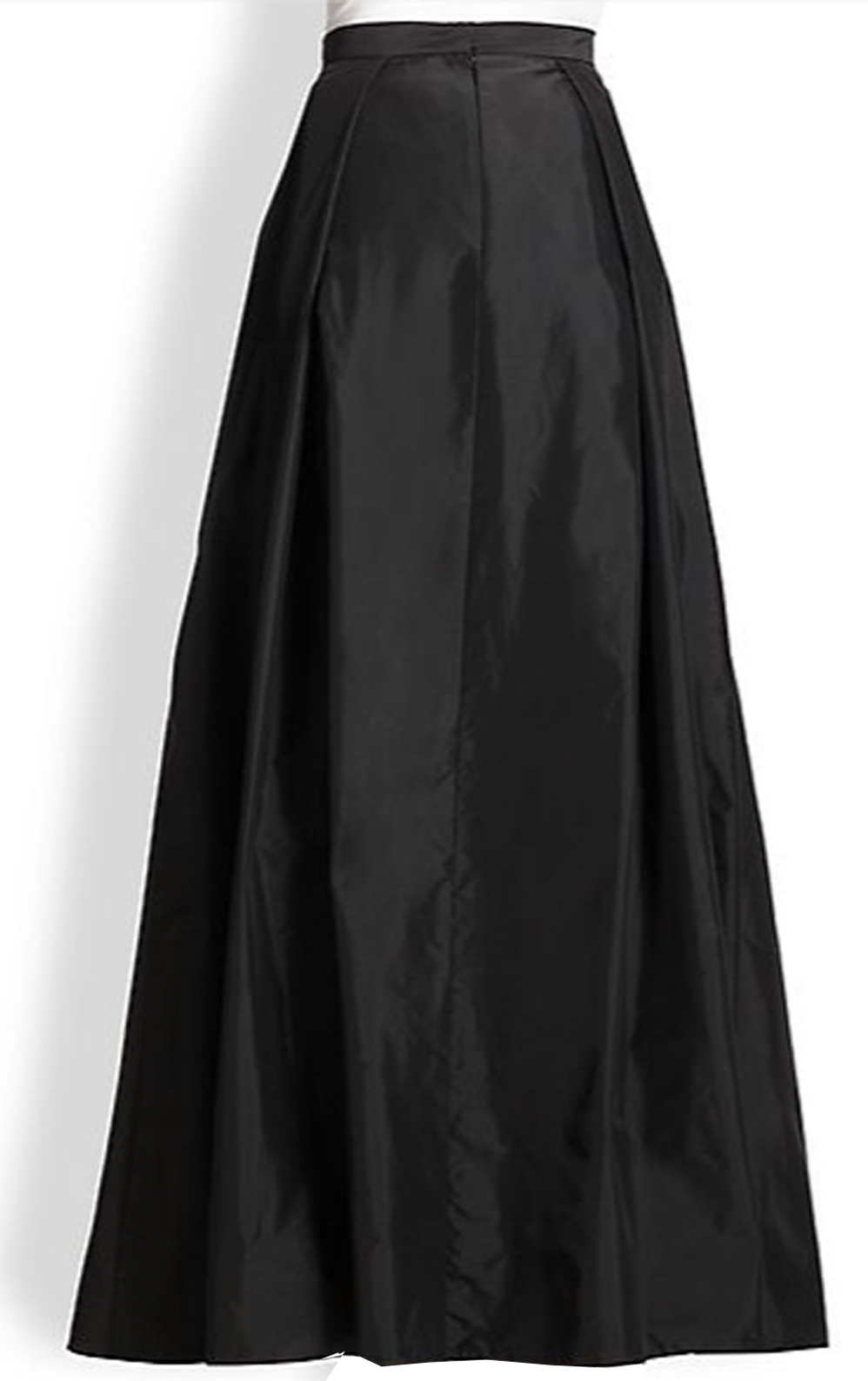 Black Taffeta Maxi Skirt With Inverted Pleats Elizabeth