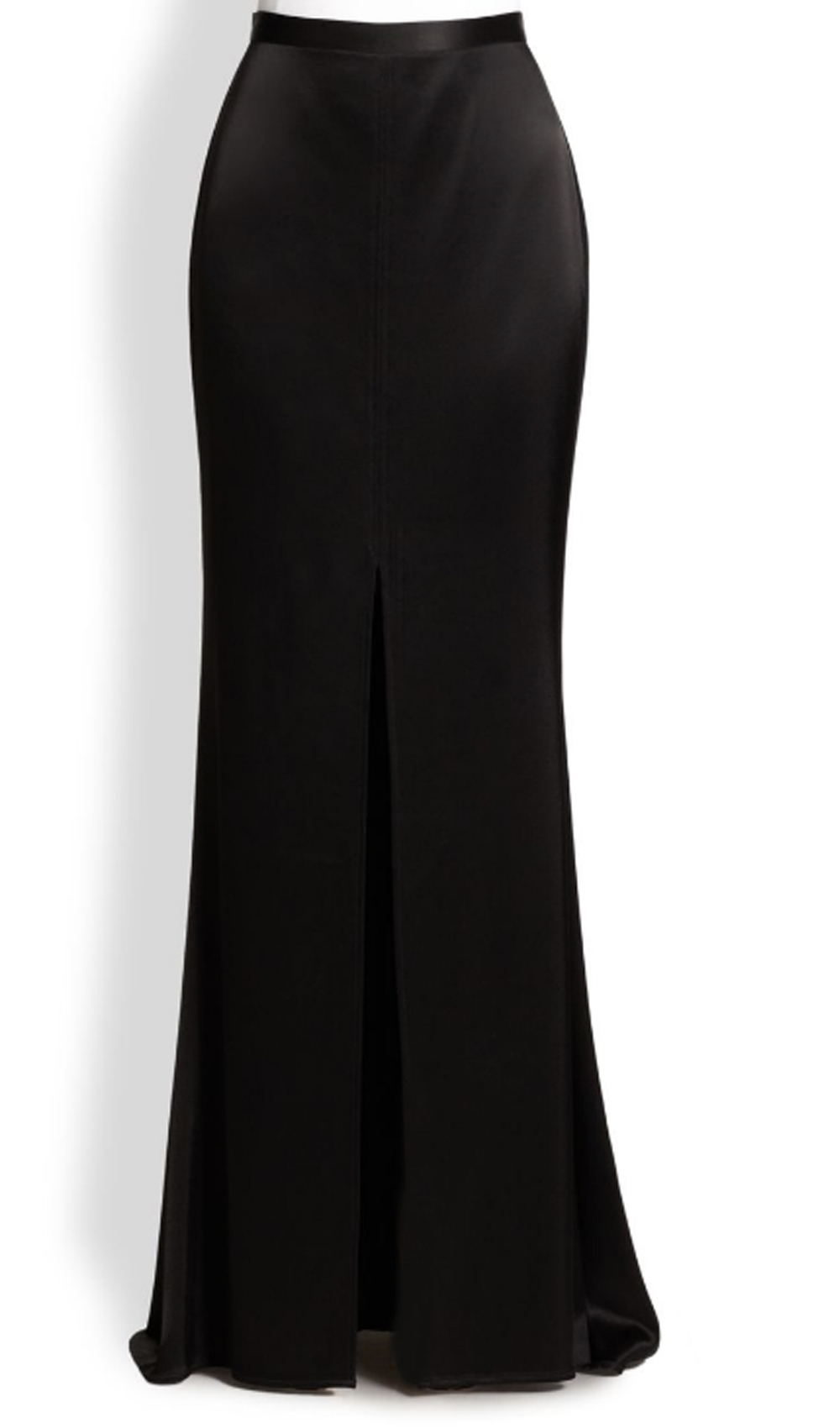 Black Satin Maxi Skirt With Open Front Split Elizabeth S