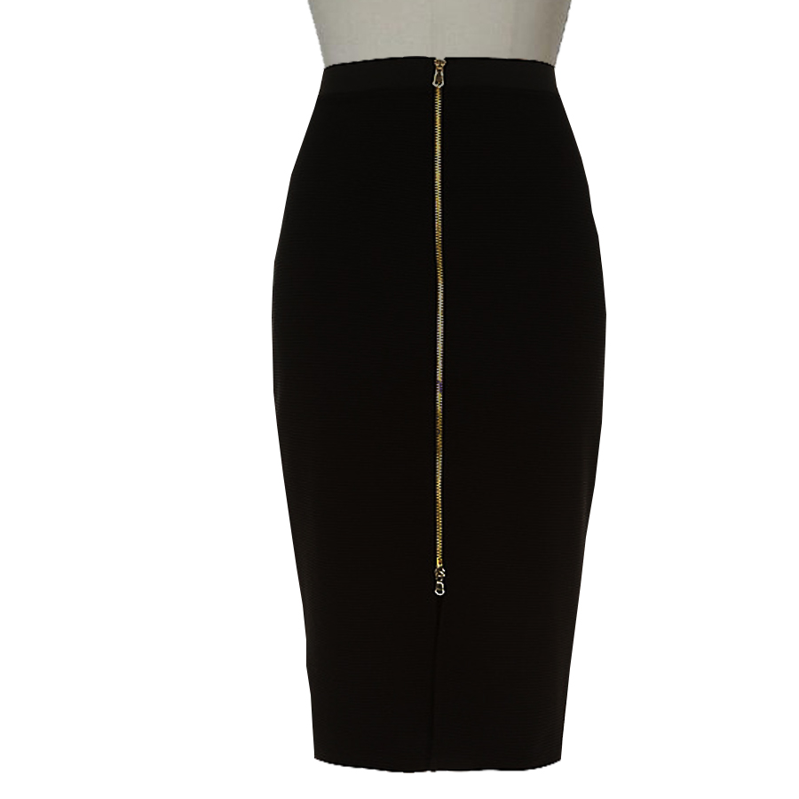 Plus Size Pontie Knit Pencil Skirt With Long Gold Zipper